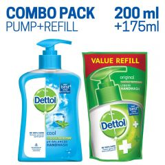 Dettol pH Balanced Liquid Handwash Pump Cool 200 ml with Dettol Liquid Handwash Refill Pouch 175 ml