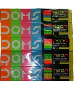 Doms Neon Rubber Tipped Graphite Pencils - 10 Pieces Box