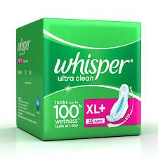 Whisper Ultra Sanitary Pads XL Plus 15 Count