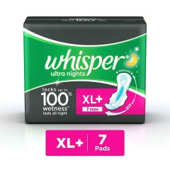 Whisper Ultra Overnight Sanitary Pads XL Plus wings 7 Count